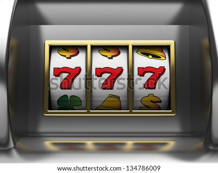 3d illustration of slot machine jackpot - stock photo