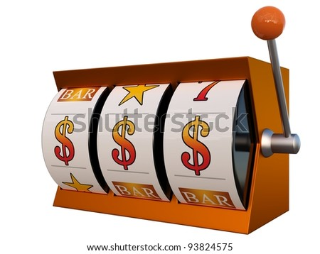 3d illustration of slot machine with dollars jackpot