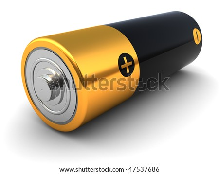 3d illustration of small battery closeup, over white background - stock photo
