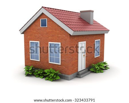 3d illustration of small comfort house with green plants - stock photo