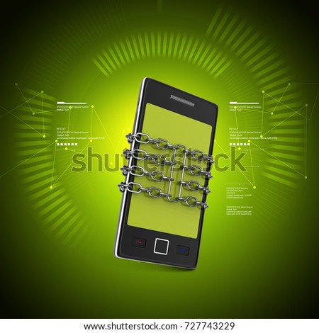 3d illustration of Smart phone with protection in color background