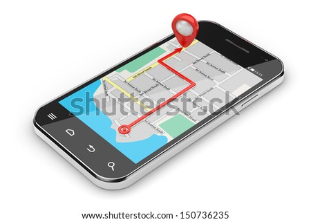 3d illustration of smartphone navigation concept isolated - stock photo