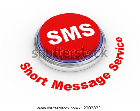 3d illustration of sms ( short message service ) button - stock photo
