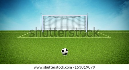 3d illustration of soccer field with goals on blue background - stock photo