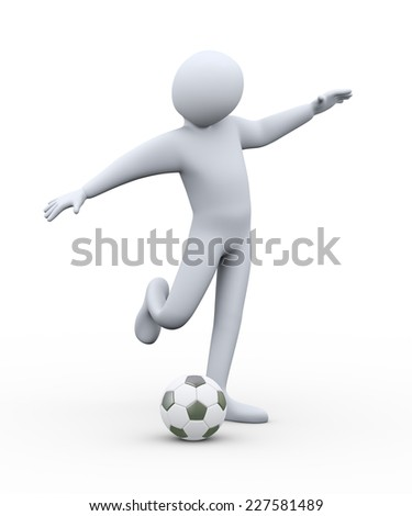 3d illustration of soccer player kicking ball.  3d rendering of human people character. - stock photo