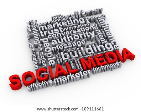 3d Illustration of social media word tags cloud - stock photo