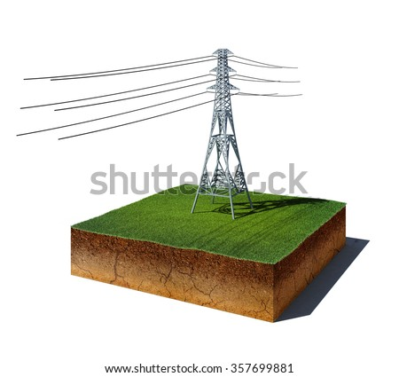 3d illustration of soil cutaway. Aerial view dirt cube with electricity transmission pylon isolated on white background - stock photo