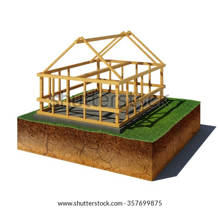 3d illustration of soil cutaway. Aerial view dirt cube with wooden construction isolated on white background - stock photo