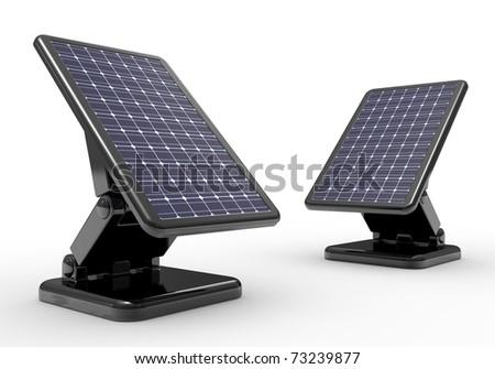 3d illustration of solar battery panel over white background - stock photo