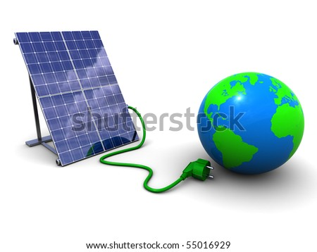 3d illustration of solar panel and earth globe, over white background - stock photo