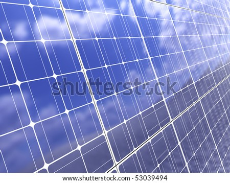 3d illustration of solar panel background, with blue sky reflection