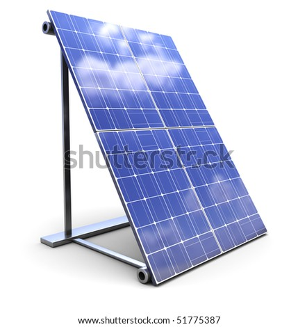 3d illustration of solar panel over white background - stock photo