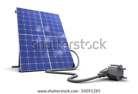 3d illustration of solar panel with power cord, over white background - stock photo