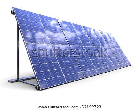 3d illustration of solar panels row over white background - stock photo