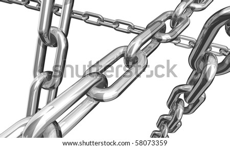 3d illustration of some silver and gold chains isolated on white background
