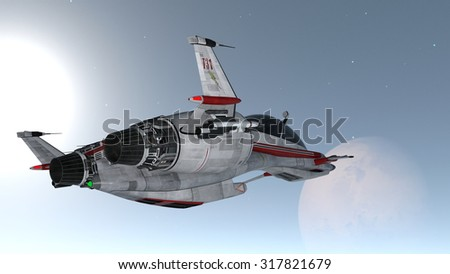 3D illustration of space ship and space