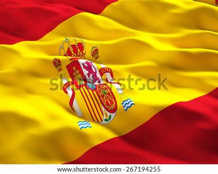3d illustration of spain flag - stock photo
