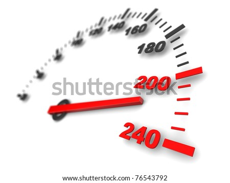 3d illustration of speed meter, fast - stock photo