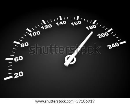 3d illustration of speed meter over dark background - stock photo