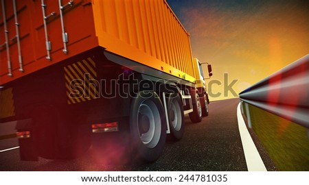 3d illustration of Speeding Transportation Semi Truck with Container driving on highway road on sunset - stock photo