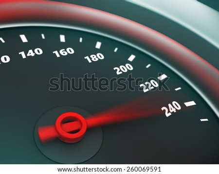 3d illustration of speedometer with danger speed