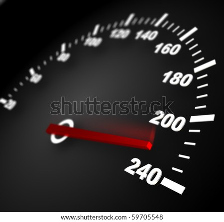 3d illustration of speedometer with moving arrow and high speed - stock photo