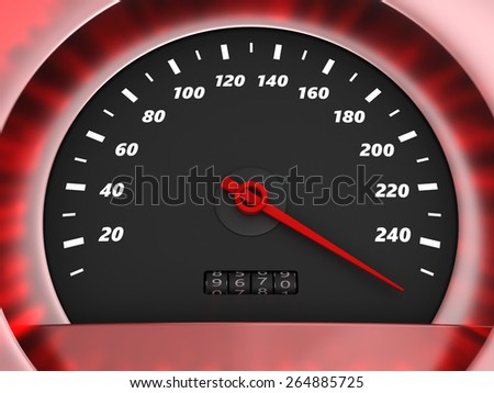 3d illustration of speedometer with very danger speed