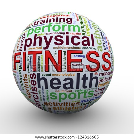 3d Illustration of sphere of fitness Wordcloud word tags.