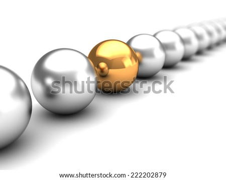 3d illustration of spheres row with one unique golden - stock photo