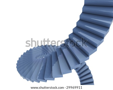 3d illustration of spiral stairs over white background - stock photo