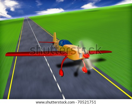 3d illustration of sport airplane on runway - stock photo