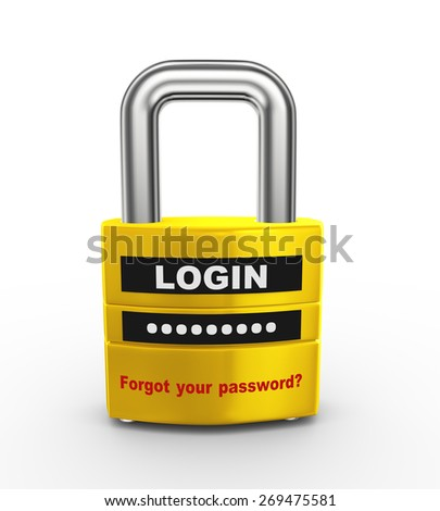 3d illustration of ssl protected padlock with login and password information. - stock photo