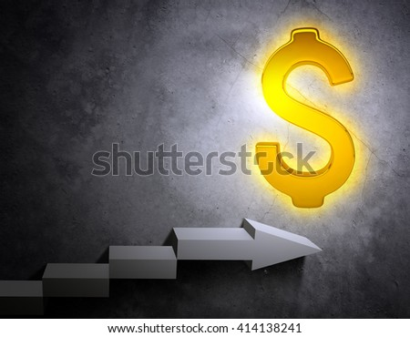 3D illustration of stairs leading to golden dollar sign. Wealth concept