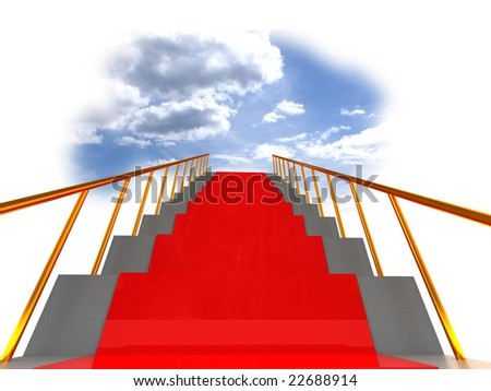 3d illustration of stairway to heaven - stock photo