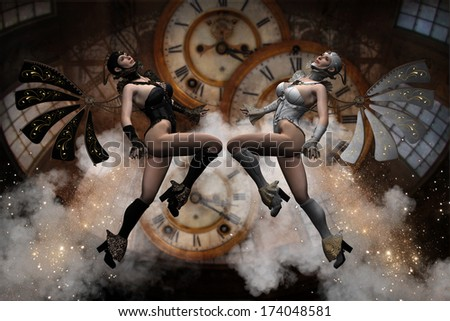 3D Illustration of 2 Steampunk fliers depicting Yin-Yang.  Background consists of  clocks, windows and steam.