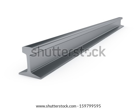 3d illustration of steel girder rail isolated on white background  - stock photo