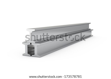 3d illustration of steel girders isolated on white background  - stock photo