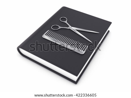 3d illustration of steel hairdresser tool on a  black  textbook