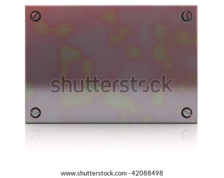 3d illustration of steel plate with reflection at floor
