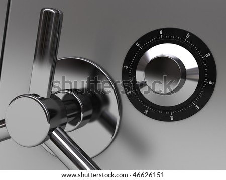 3d illustration of steel safe door closeup - stock photo