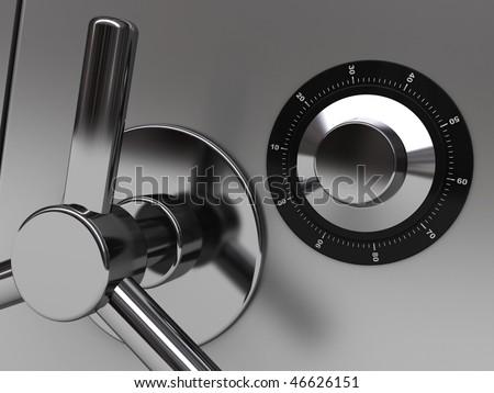 3d illustration of steel safe door closeup - stock photo