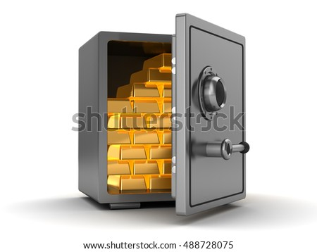 3d illustration of steel safe full of gold