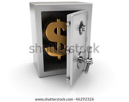 3d illustration of steel safe with dollar sign inside