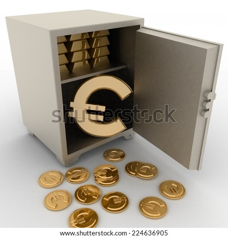 3d illustration of steel safe with euro sign inside - stock photo