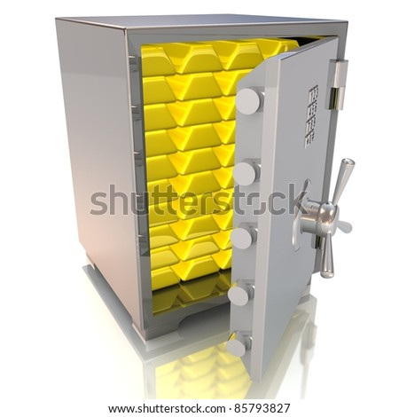 3d illustration of steel safe with gold bullions inside - stock photo