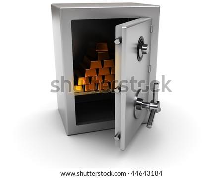 3d illustration of steel safe with golden bricks inside - stock photo