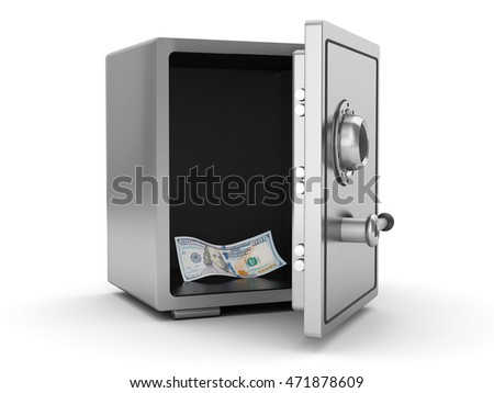 3d illustration of steel safe with last single banknote