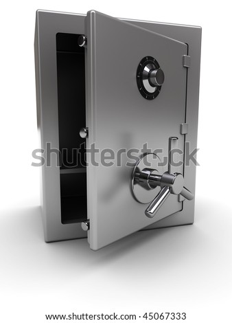 3d illustration of steel safe with opened door, over white background - stock photo