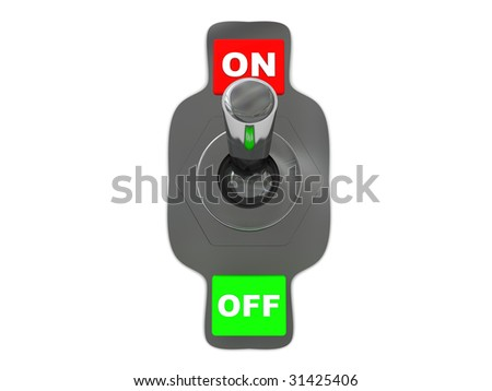 3d illustration of steel switch with 'on' and 'off' captions - stock photo