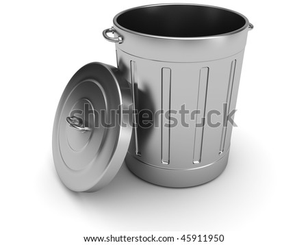 3d illustration of steel trash can over white background - stock photo